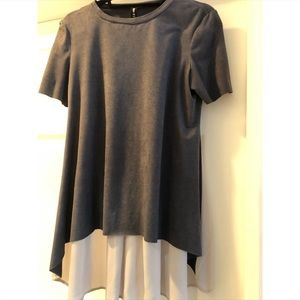 Design Lab Lord & Taylor Faux suede t shirt